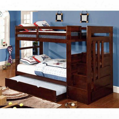 Woodridge Cm-bk612-bed Twin/twin Bunk Bed With 14 Pc. Slats Top And Bottom Built-in Steps And Drawers (trundle Not Included) In Dark