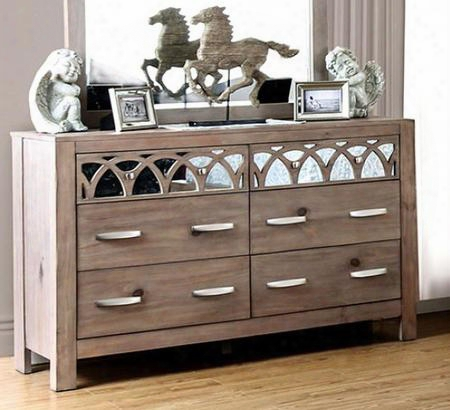 Zaragoza Cm7585d Dresser With Contemporary Style Felt-lined Top Drawers Interlocking Circle Mirror Accents Full Extension Metal Glides In Rustic Natural