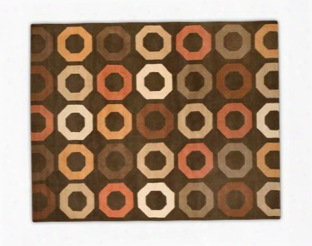 941092 Axis Collection 100% Wool Hand Tufted Large Area Rug With Brown Background With Colorful Geometrical