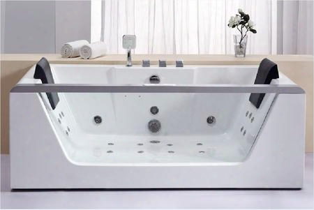 Am196 Rectangular Whirlpool Bath Tub With Acrylic 2 Person Capacity Tempered Glass Panel Back Flow Preventer Control Panel Digital Stereo Sound Water