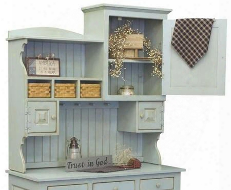 "Annies 465002 48"" 2 Piece Hutch With 3 Doors 3 Baskets Shelves Molding Detail And Wooden Hardware In Seafoam"