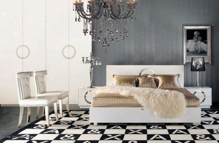 Aw223-180ck Moedrn White Crocodile Lacquer Bed California