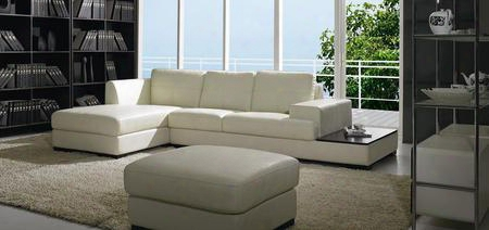 Bo3893 Contemporary Low Profile Leather Sectional Sofa Set With Ottoman In