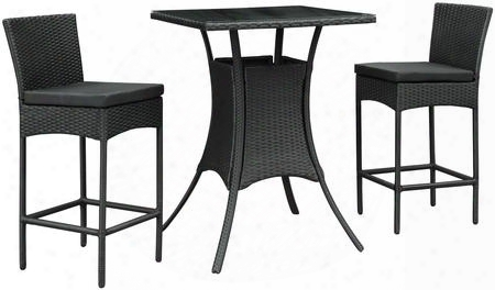 Cerveza Collection Eei-835-blk-blk-set 3-piece Outdoor Patio Pub Set With 2 Pub Chairs And Pub Table In