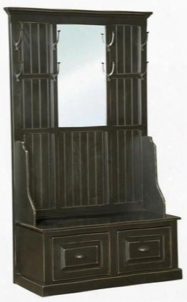 "John 465014 45"" Hall Tree With 8 Hooks 2 Drawers Mirror Metal Hardware And Pine Wood Construction In Black"