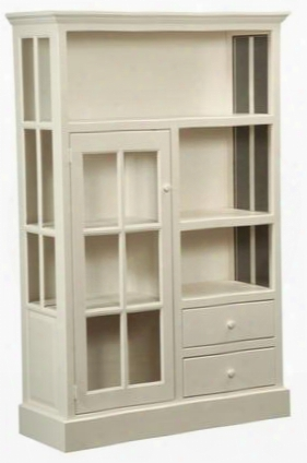 "Rebekah 465017 46"" Kitchen Cupboard Ith 2 Drawers 1 Glass Door Simple Hardware And Pine Wood Construction In Country White"