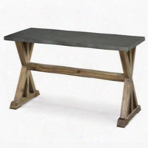 T2058-73 Lybrook Collection Rectangular Sofa Table With Aged Zinc & Antique Natural