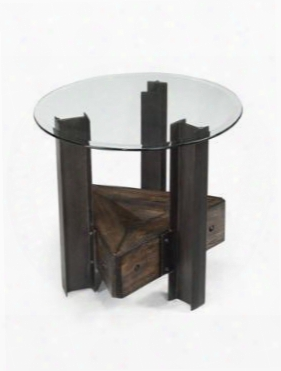 T2215-05 Rowan Collection Round End Table With Aged Chestnut