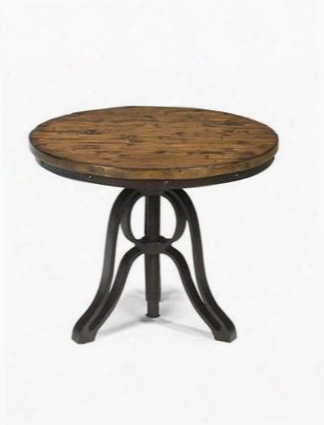 T2299-05 Cranfill Collection Round End Table In Aged Pine