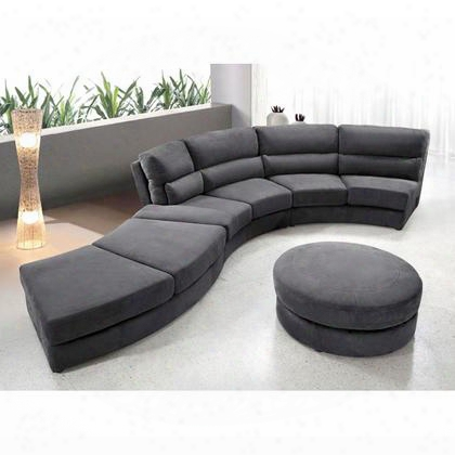 Vg2t0599mf Contemporary Curvy Microfiber Fabric Sectional Sofa With Ottoman: