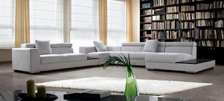 Vg2t0615 Divani Casa Forte Sectional Sofa With Adjustable Headrests Suede-like Feel And Fabric Upholstery In