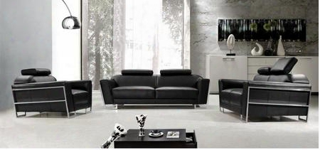 Vg2t0658b Addison Modern Black Leatherleather Match 3 Piece Sofa