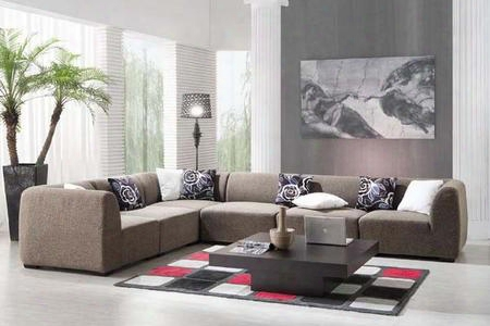Vgdm2986 Brown Fabric Upholstery Sectional Sofa