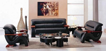 Vgev2033-blk Modern Black Leather Living Room