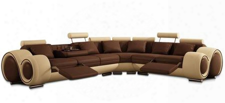Vgev4087-bl Divani Casa Sectional Sofa With 2 Adjustable Footrests 2 Cup Holders Tray And Bonded Leather Upholstery In