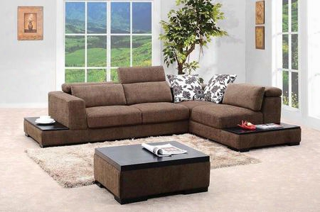 Vgmb0805 Brown Fabric Sectional Sofa Set With Coffee
