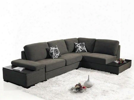 Vgmb1015 Risto Collection Brown Fabric Sectional Sofa Set With Hidden Storage And