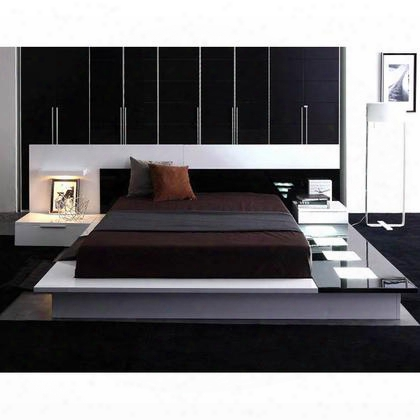 Vgwcimperack Modrest Impera Platform Bcalifornia King Size Ed With Led Lights Square-shape Lamp Lights And 2 Attached Nightstands In White Lacquer