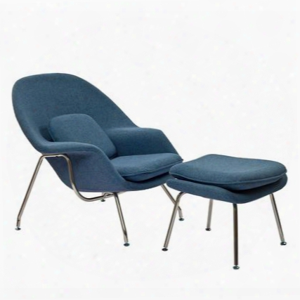 """Womb Collection Eei-113-but 38"""" Lounge Chair With Ottoman Included Stainless Steel Frame Foam Padding And Fabric Upholstery  In Blue Tweed"""