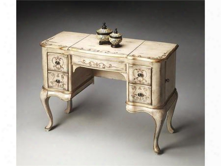 0735238 Specialty Vanity With Drawers Mirror And Jewelery Compartment In Guilded Cream