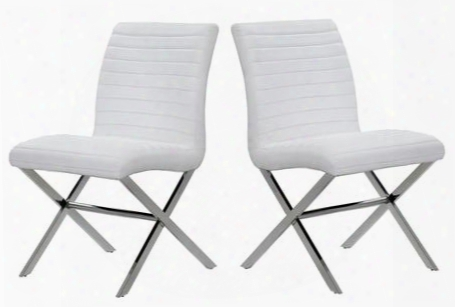 21204-60-2wh 22x22x36 Sasha Set Of Two Dining Chairs In White Leatherette With Polished Staniless Steel