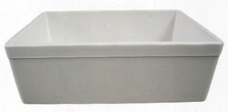 "Ab511-w 30"" Decorative Lip Apron Single Bowl Farmhouse Kitchen Sink With Fireclay And 3 1/2"" Rear Center Drain In"