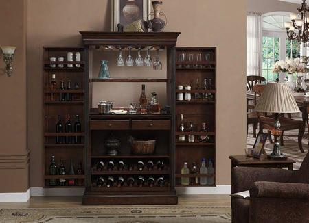 Angelina Series 600061nav Bar Server With Stemware Holders Dual Pull-out Wine Racks Black-glass Work Area Electrical Outlet For Small Appliances And Touch