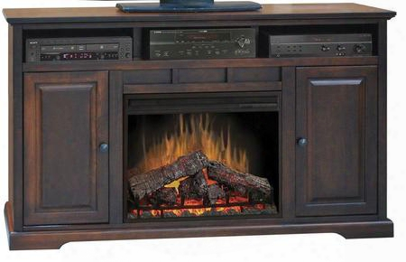 "Bw5101.dnc Brentwood 64"" Fireplace Console With 4600 Btu Heater 2 Side Storage Cabinets And 1 Mddia Shelf In Danish"