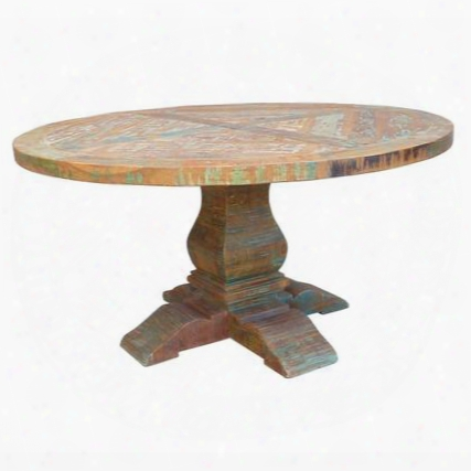 "Fms-rd60 60"" Marseilles Dining Table Handcrafted Reclaimed Teak ""x"" Pattern"