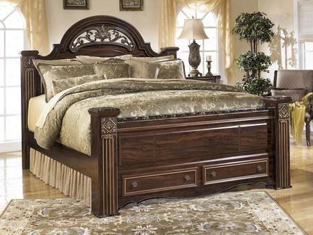 Gabriela B347-70/68/66s/99 King Size Poster Bed With Footboard Drawers Side Roller Glides Faux Marble Accents And Carved Detailing In Dark Reddish