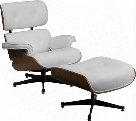 "Hercules Presideo Series Zb-presideo-ch-001-ott-white-gg 17"" Top Grain Italian Leather Lounge Chair And Ottoman Set With Metal Base In"