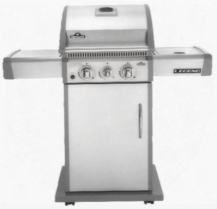 La Series La200sbnss Natural Gas Grill With Side Burner On Cart 2 Burners 35 000 Btus Grilling Surface Cast Iron Cooking Grid 2 Side Shelves 435 Sq.