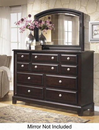 "Ridgley B520-31 64"" 10-drawer Dresser With Satin Nickel Color Handles Felt Lined Drawer Bottoms And Molding Details In Dark"