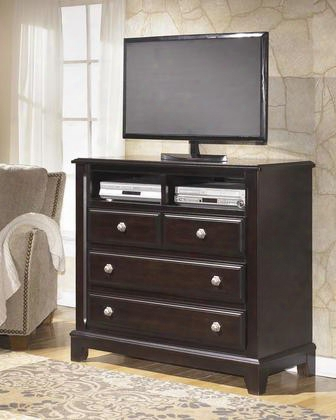 "Ridgley B520-39 47"" Media Chest With Satin Nickel Color Handles Top Compartments And Molding Details In Dark"