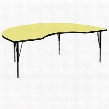 XU-A4896-KIDNY-YEL-T-P-GG 48'W x 96'L Kidney Shaped Activity Table with Yellow Thermal Fused Laminate Top and Height Adjustable Pre-School