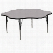 XU-A60-FLR-GY-T-P-GG 60' Flower Shaped Activity Table with Grey Thermal Fused Laminate Top and Height Adjustable Pre-School