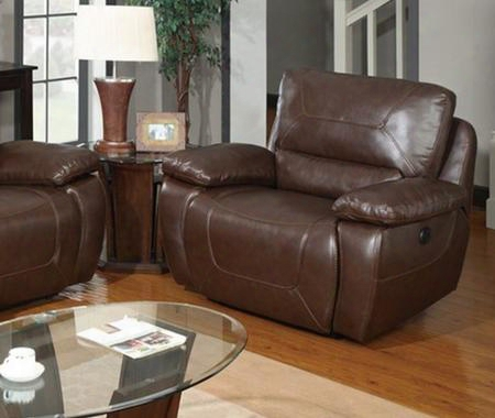 U1027-power-c Double Reclining Brown Power Chair Bonded Leather Upholstery With Plush Arms/back Reclining