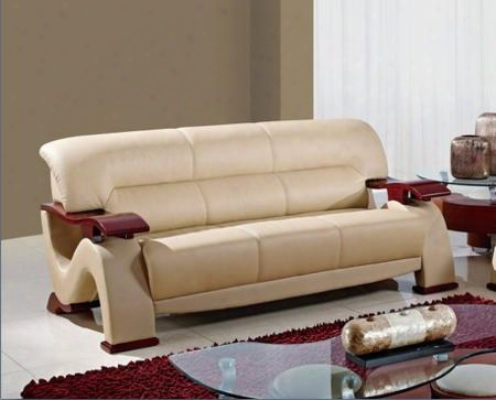 U2033-capp-s Modern Bonded Leather Sofa Plush Seats And Back Wooden Arms And Legs In