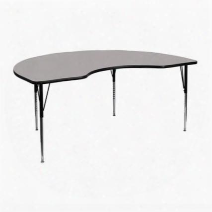 Xu-a4872-kidny-gy-h-a-gg 48' X 72'l Kidney Shaped Activity Table With 1.25' Thick High Pressure Grey Laminate Top And Standard Height Adjustable