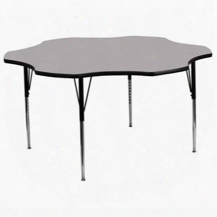 Xu-a60-flr-gy-t-a-gg 60' Flower Shaped Activity Table With Grey Thermal Fused Laminate Top And Standard Height Adjustable