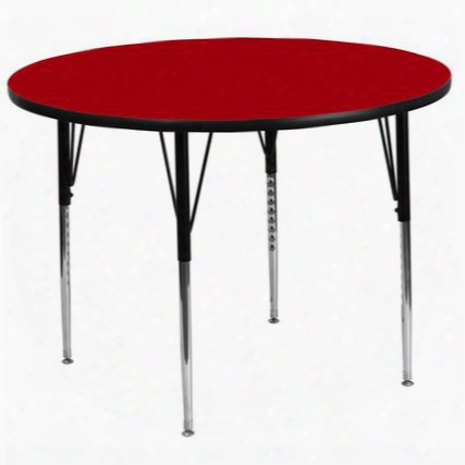 Xu-a60-rnd-red-t-a-gg 60' Round Activity Table With Red Thermal Fused Laminate Top And Standard Height Adjustable
