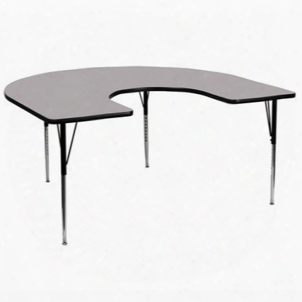 Xu-a6066-hrse-gy-t-a-gg 60'w X 66'l Horseshoe Activity Table With Grey Thermal Fused Laminate Top And Standard Height Adjustable