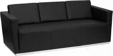 Zb-trinity-8094-sofa-bk-gg Hercules Trinity Series Contemporary Black Leather Sofa With Stainless Steel