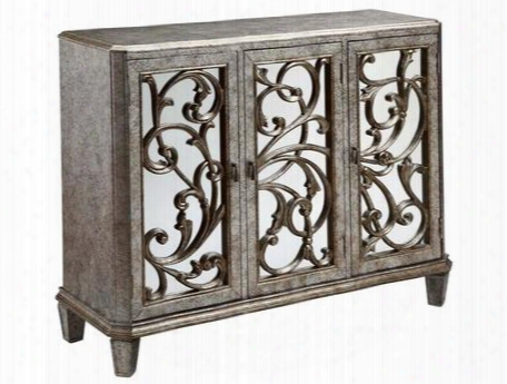"12398 46"" Leslie 3-door Mirrored Cabinet With Ornate Design In Antique Silver"