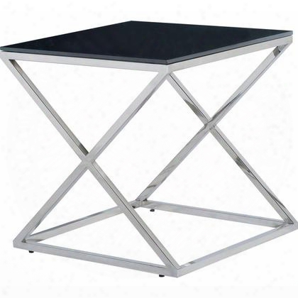 20804-02-bl Excel Square End Table With Black Glass Top On Polished Stainless Steel