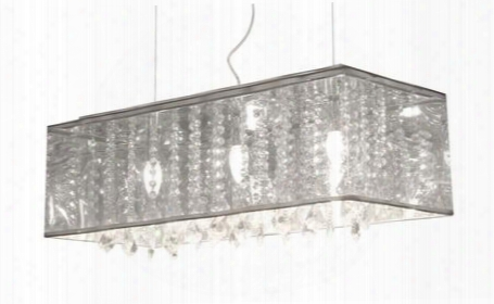 "50093 39"" Blast Ceiling Lamp With Dangling Crystals And Translucent Metallic"