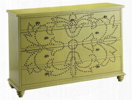 57308 Ian Chest With Hand Painted Green Finish And A Stunning Antique Brass Nail Head Pattern Flowing Across The Nine