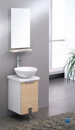 "Adour Collection Fvn8110lt 16"" Modern Bathroom Vanity With Mirror Soft Closing Door And Ceramic Vessel Sink In Light"
