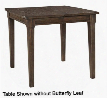 "Attic Retreat 4990-522 42"" Wide Counter Table With One 18"" Self-storing Butterfly Leaf Tapered Legs And Distressing Details In Weathered Mink"