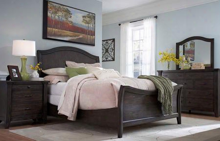 Attic Retreat Collection 4 Piece Bedroom Set With King Size Sleigh Bed + 1 Nightstand + Dresser + Mirror: Weathered